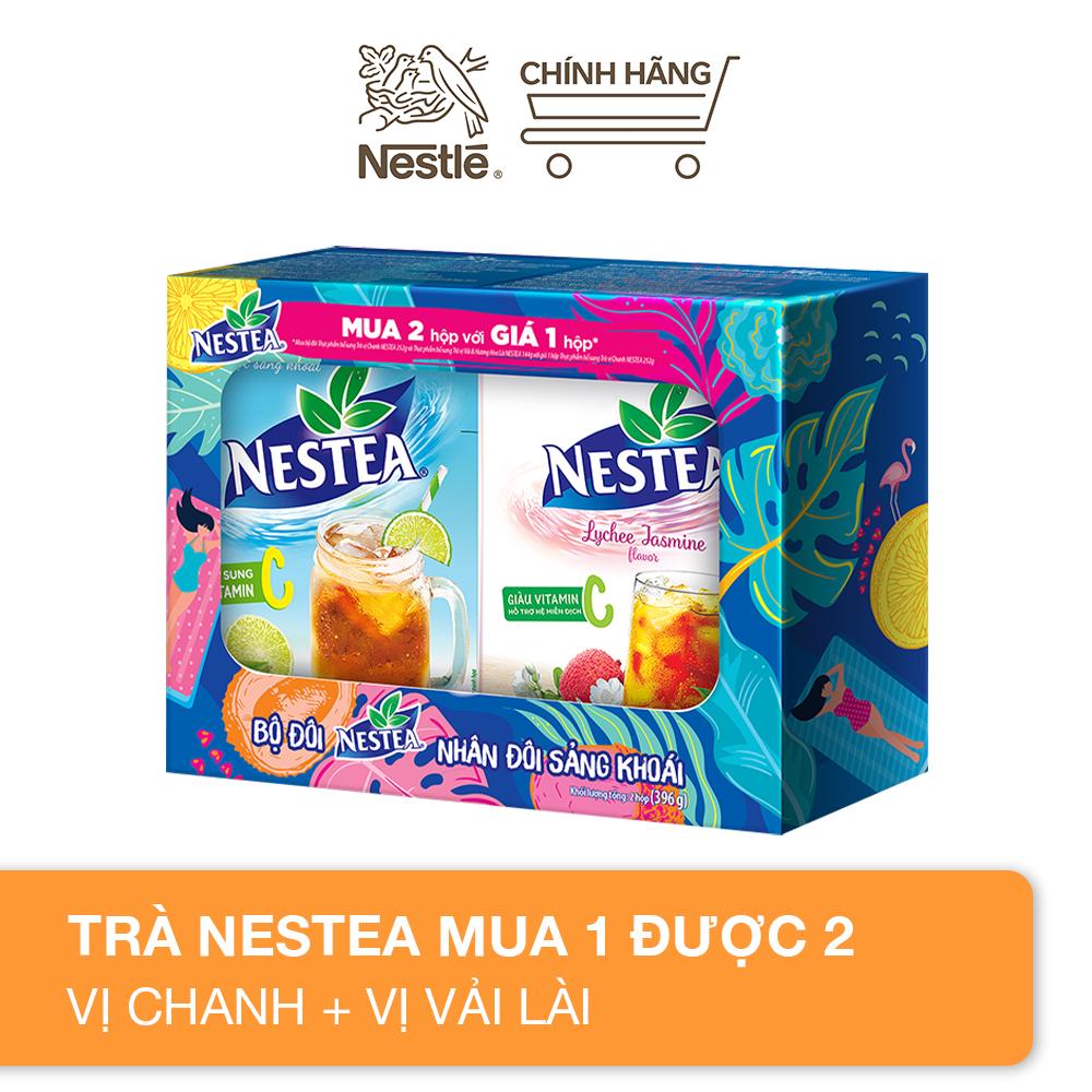 [Mua 1 được 2] Bộ đôi Nestea trà chanh & trà vải lài 396g