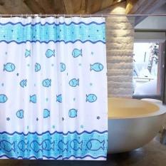 Rèm phòng tắm 1.8m có kèm móc treo CÁ VUÔNG XANH DƯƠNG