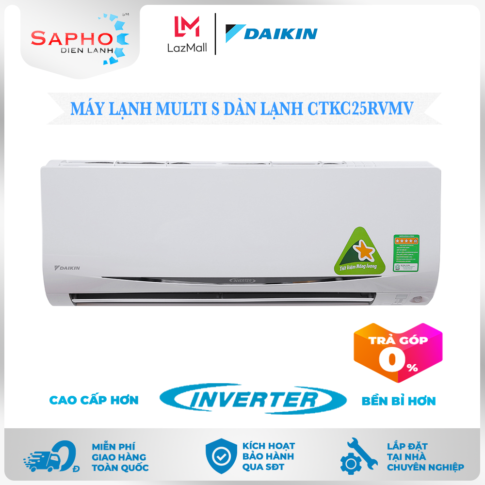 [Free Lắp HCM & HN] Multi S Dàn Lạnh CTKC25RVMV 1.0 HP (9000btu) Inverter Gas R32 Treo Tường 1 Chiều Lạnh Điều Hoà Daikin – Điện Máy Sapho
