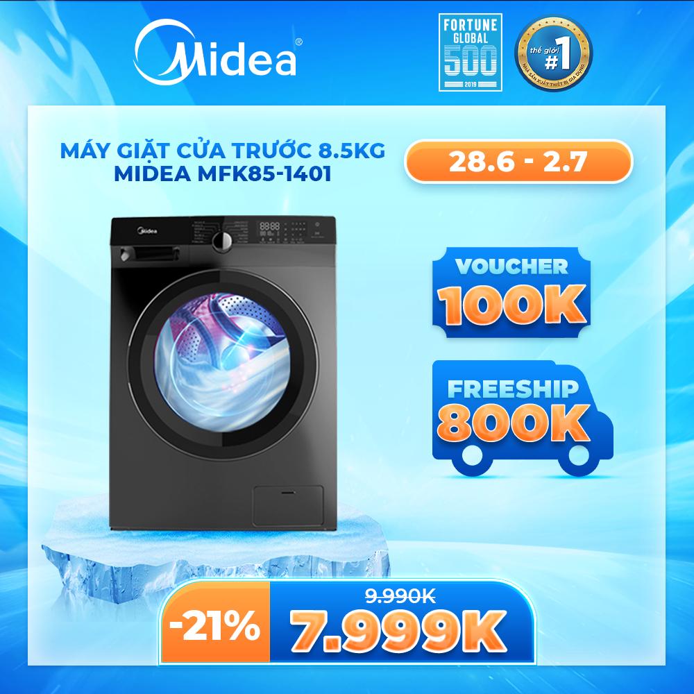 [Trả góp 0%]Máy Giặt Cửa Trước Midea MFK85-1401 8.5kg (Trắng/Xám Bạc) – Dòng Cao Cấp – Tính Năng Diệt Khuẩn Đến 99% – 14 Chế Độ Giặt Bảo Vệ Quần Áo Và Sức Khỏe – Hàng Chính Hãng