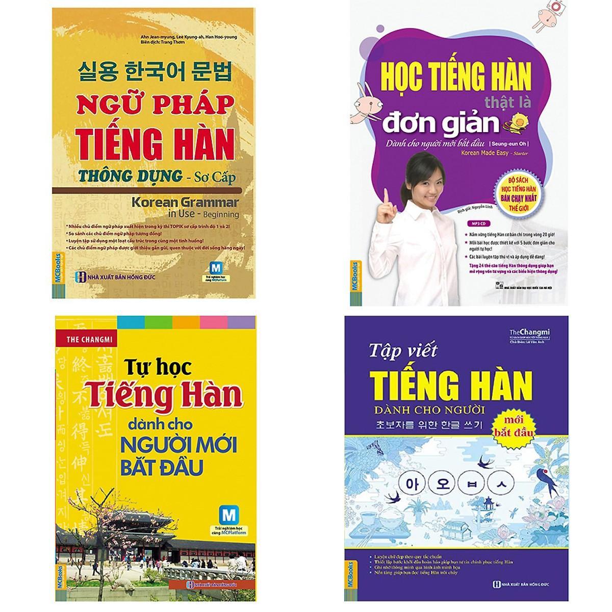 Combo Ngữ pháp tiếng Hàn thông dụng, Học tiếng Hàn thật đơn giản cho người mới bắt đầu, Tự học...