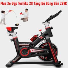 Xe đạp tập thể dục tại nhà | xe đạp tập gym | xe đạp tập thể thao tại nhà Toshiko X8 chính hãng – tặng khung cột sống + hít tập bụng hoặc tặng Bóng bàn phản xạ + ( bình nước, đồ hồ đo nhịp tim ) – bảo hành 36 tháng