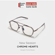 Gọng kính kim loại vuông nam nữ CHROME HEARTS chất liệu titanium siêu nhẹ Iconic GLSS phụ kiện thời trang hot trend 2021 lens giả cận