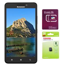 Bộ 1 Lenovo A5000 8GB 2 SIM (Đen) + 1 Sim Dcom 3G Viettel + 1 thẻ nhớ 8G