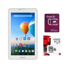 Bộ 1 Máy tính bảng Archos 70c Xenon 8GB 2 Sim (Trắng) + 1 Sim Dcom 3G Viettel + 1 Thẻ nhớ MicroSD 8GB Class 4