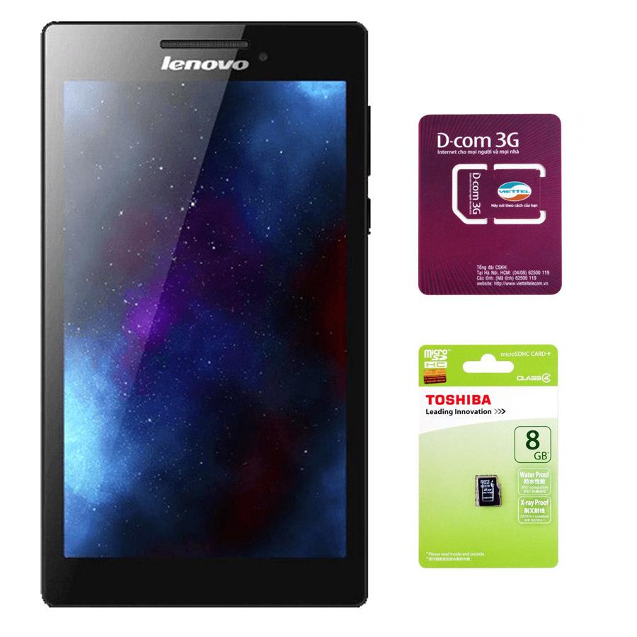 Giá Sốc Bộ 1 Máy tính bảng Lenovo Tab 2 A7-10 8GB Wifi (Đen) + 1 Sim Dcom 3G Viettel và 1 Thẻ nhớ 8GB Class 4