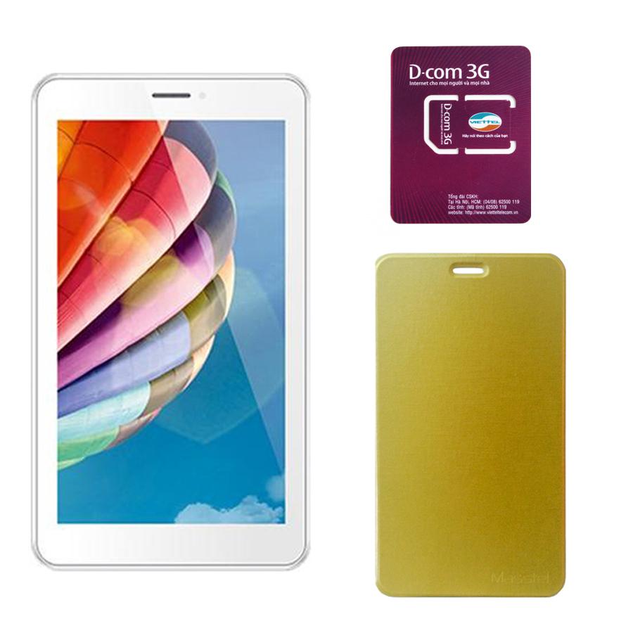 Cách mua Bộ 1 Máy tính bảng Masstel Tab 705 8GB 2 SIM 3G (Vàng) và 1 Bao da Masstel Tab 705 và 1 Sim Dcom 3G Viettel
