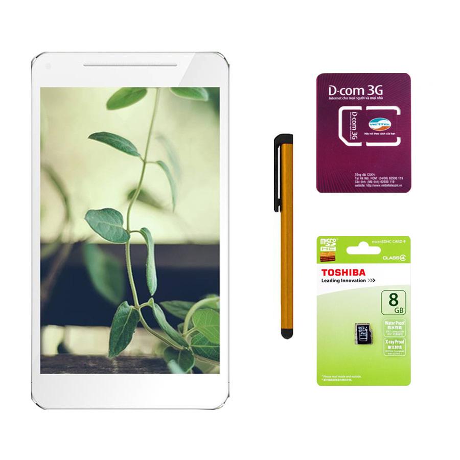 Bảng Báo Giá Bộ 1 Máy tính bảng Masstel Tab 760 8 GB 2 Sim (Bạc) + Sim Dcom 3G Viettel + Thẻ nhớ MicroSD 8GB Class 4 + Bút cảm ứng Stylus Touch 1 đầu Pen-x