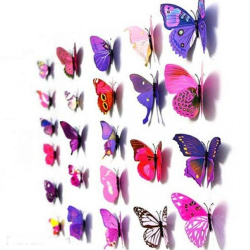 Bảng Báo Giá Bộ 12 con bướm 3D nam châm trang trí