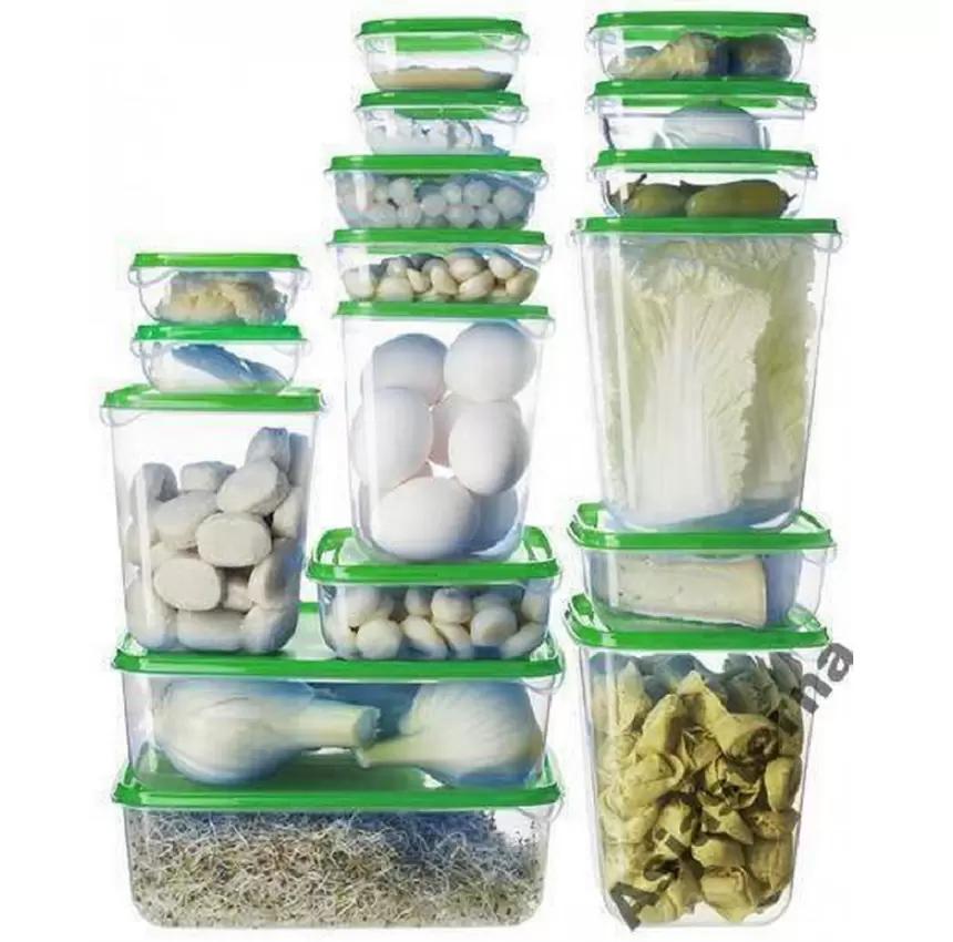 Bộ 17 hộp đựng thực phẩm an toàn cho lò vi sóng tủ lạnh máy rửa bát (Trắng xanh)