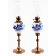 Giá Bộ 2 đèn dầu thờ men lam cổ bọc đồng Bát Tràng-01