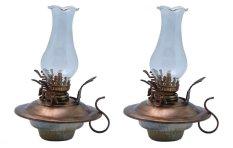 Bộ 2 đèn dầu thờ men lam cổ bọc đồng Bát Tràng-04