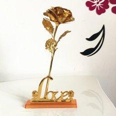Bộ 2 hoa Hồng 3D Mạ Vàng LOVE