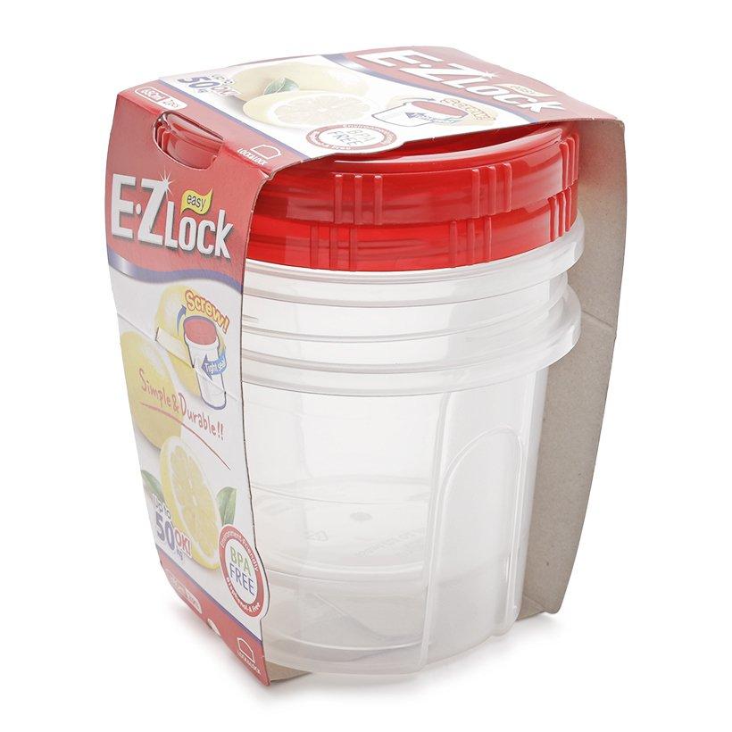 Bộ 2 Hộp Nhựa Ezlock Nắp Đỏ Lock&Lock HLE9614S 650Ml