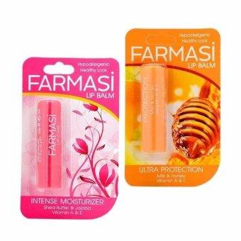 Giá bán Bộ 2 son dưỡng giảm thâm và khô nứt môi Farmasi Lip Balm Cam, mật ong + Shea buter và Jojoba