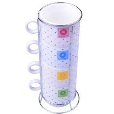 Bộ 4 cốc sứ kèm giá