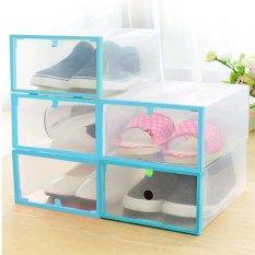 Bộ 5 Hộp Đựng Giày Dép Có Khung Viền Nhựa (Xanh)