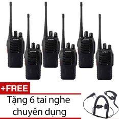 Bộ 6 bộ đàm Baofeng BF888S dời 2016 (đen) + Tặng 6 tai nghe chuyên dụng