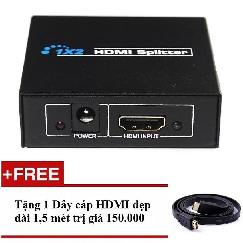 Bộ chia HDMI ra 2 cổng – HDMI Splitter 1×2 + Tặng Cáp HDMI dẹt dài 1.5m