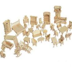 Bộ đồ chơi ghép gỗ nội thất 184 chi tiết
