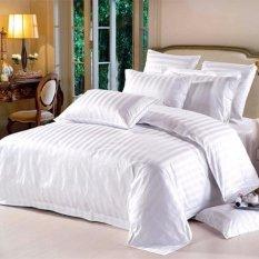 Bộ drap trắng Khách Sạn 160x200x30 và 2 áo gối 50x70cm Estella White (Trắng)