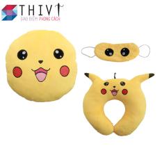 Bộ gối tựa lưng, gối cổ và bịt mắt Pokermon Go 06 – THIVI (Pikachu Vàng)