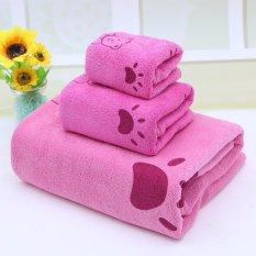 Bộ khăn tắm cao cấp gồm 3 loại cho trẻ em kiểu Hàn Quốc Smart Store (Hồng)