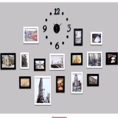 Bộ khung ảnh gỗ thông treo tường kèm đồng hồ KAT36