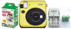 Bộ máy ảnh chụp lấy ngay Fujifilm Instax mini 70 (vàng) + Bộ film Fujifilm instax mini(20 tấm) + Sạc và 2 viên pin sạc CR2 Lithium