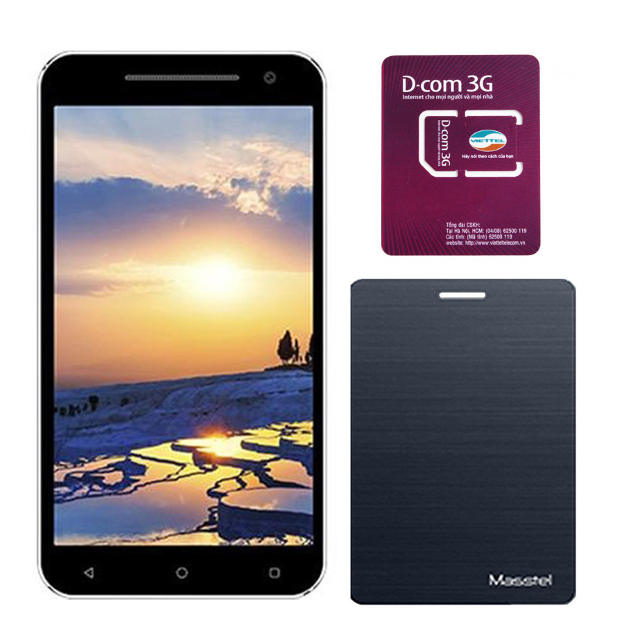 Giá KM Bộ Máy tính bảng Masstel Tab 750 8GB 3G 2 SIM (Đen) + 1 Bao da Tab 750 + sim D-com 3G