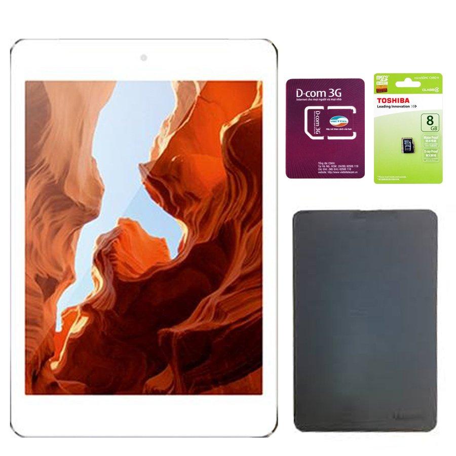 Cửa hàng bán Bộ Máy tính bảng Masstel Tab 850 8GB 3G 2 SIM (Bạc) + 1 Bao da Tab 850 + sim D-com 3G + thẻ nhớ 8G