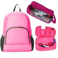 Bộ sản phẩm Ba lô du lịch + Túi đựng đồ lót + Túi đựng giày du lịch (Hồng)