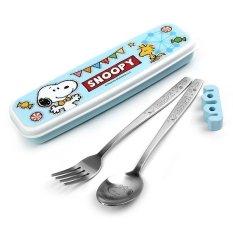 Bộ thĩa dĩa inox và hộp đựng Lock&Lock Snoopy Amusement Park LSP003 (Xanh)
