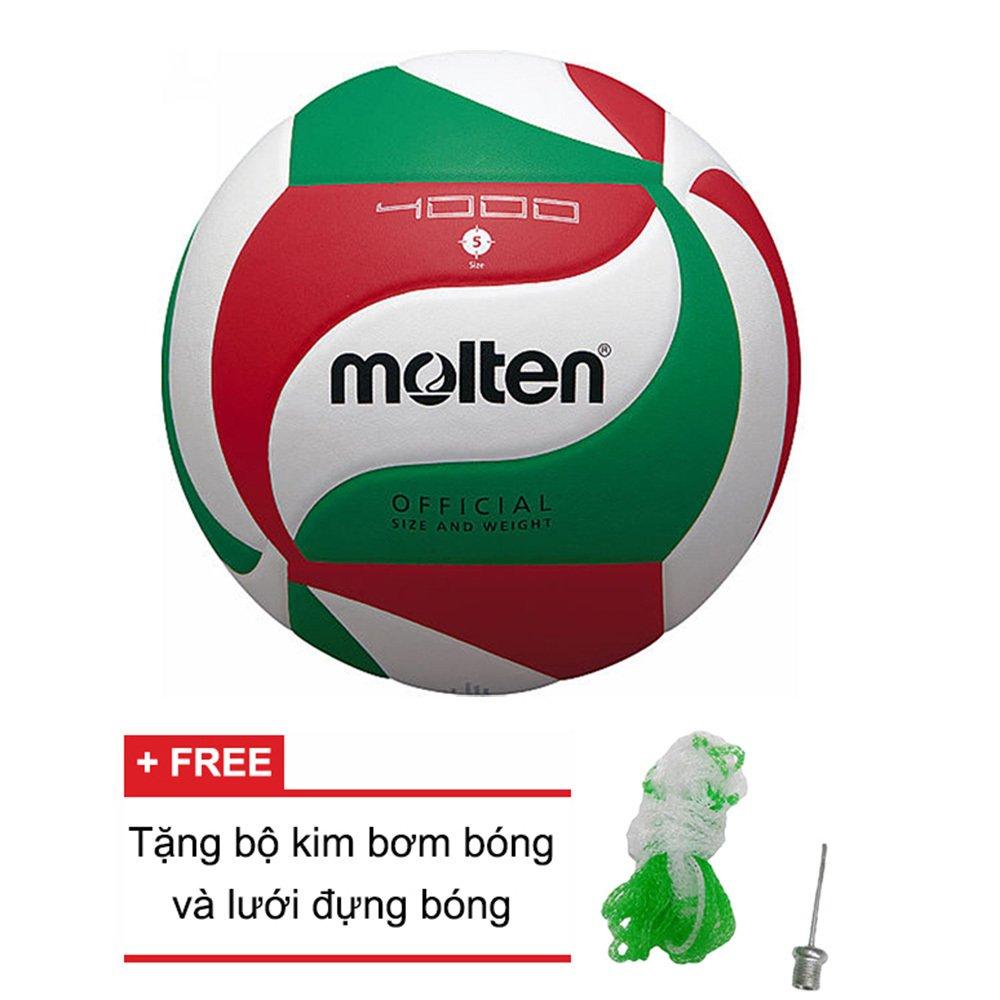 Quả bóng chuyền Molten (Nhật Bản) V5M4000 + Tặng bộ kim bơm bóng và lưới đựng bóng