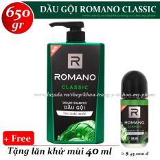 Romano – Dầu gội hương nước hoa Classic 650 gr + Tặng lăn khử mùi 40 ml