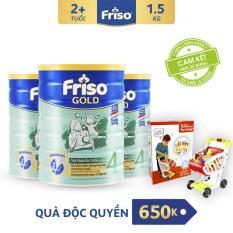 [Freeship-Thanh toán giảm thêm 60K] Bộ 3 lon sữa bột Friso Gold 4 1.5kg + Tặng Bộ đi siêu thị trị giá 650K