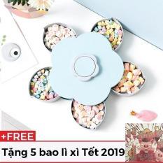 [HOT TẶNG 5 BAO LÌ XÌ ] Khay đựng mứt – bánh kẹo xoay 5 cánh hoa siêu độc lạ hot 2019