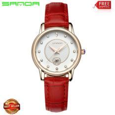 Đồng hồ Sanda nữ dây da đính hạt 12 điểm giờ siêu đẹp P198