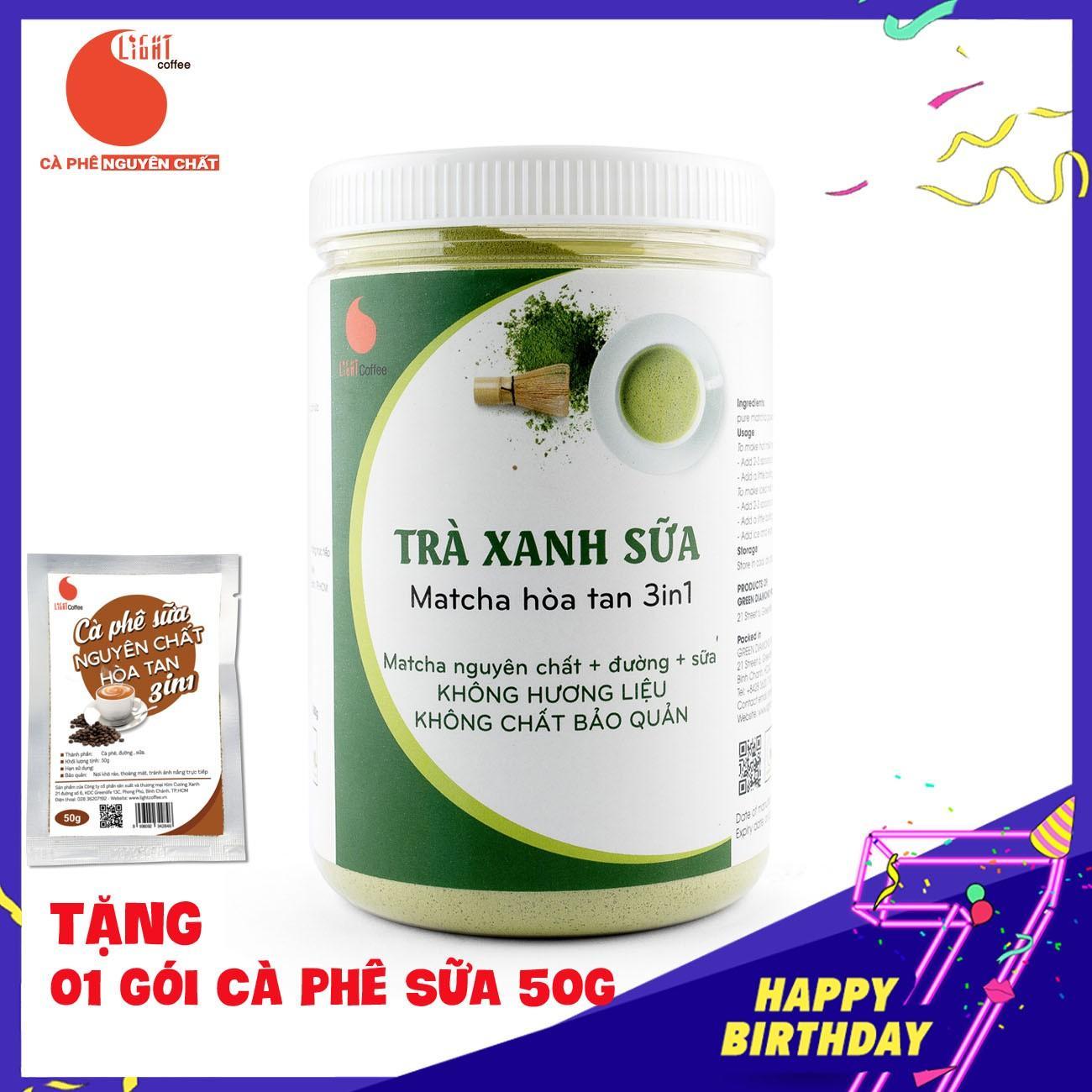 Bột trà xanh sữa 3in1, matcha xuất xứ Nhật Bản, hũ 550g, từ nhà sản xuất Light Coffee