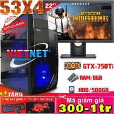 Máy tính VNgame 53X4 core i5 – 3470 GTX 750Ti 2 Fan Ram 8GB Hdd 500GB + LcdDell 22 inch (chiến PUBG, GTA5, LOL, Fifa 4, CF)
