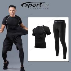 [Có sẵn] Bộ quần áo GYM Nam 2 in 1 SPORT AVENUE – Quần áo giữ nhiệt nam ôm body thể thao Fitness (Áo thun và quần legging dài) – CG06