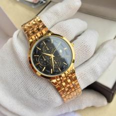 đồng hồ nam baishuns dây vàng mặt đen BS1012