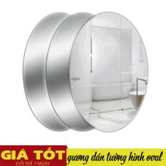 Gương dán tường, gương dán tường hình bầu dục, kích thước 42x27cm. gương nhà tắm