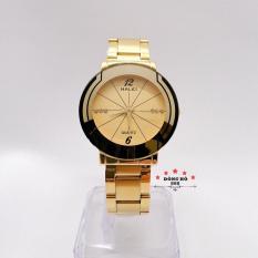 Đồng hồ nam HALEI dây kim loại thời thượng ( HL457 dây vàng mặt vàng ) – TẶNG 1 vòng tỳ hưu phong thuỷ
