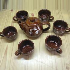 Bộ ấm trà gốm 7 món 300ml màu nâu