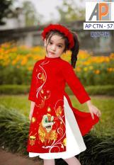 (Ảnh Thật) Set Áo Dài Cách Tân Cho Bé Gá i+ Tặng Kèm Chân Váy và Mấn Xinh Xắn Dịp Tết ,áo dài cách tân cho bé áo dài trẻ em áo dài cho bé áo dài cách tân trẻ em