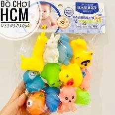 [12 CON VẬT] Túi đồ chơi 12 thú bóp kêu chíp chíp thả bồn tắm dành cho bé yêu động vật, thích khám phá thế giới BLS901