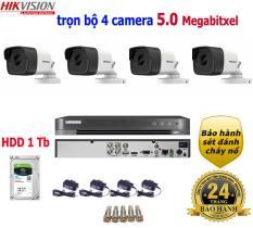 Trọn bộ 4 camera Hikvision 5.0 Megapixel gồm 1 đầu ghi hình 5Mp + 4 cam thân lắp trong nhà, ngoài trời + ổ cứng 1Tb kèm phụ kiện đầy đủ