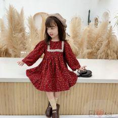 Váy bé gái VINTAGE phối ren hai màu xanh đỏ cực xinh – VBG-vintage-ren