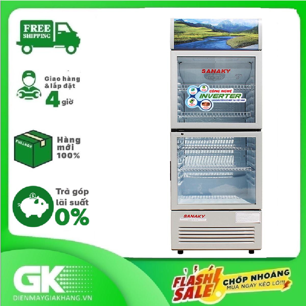 TRẢ GÓP 0% – Tủ mát Sanaky inverter VH 358W3- Bảo hành 2 năm